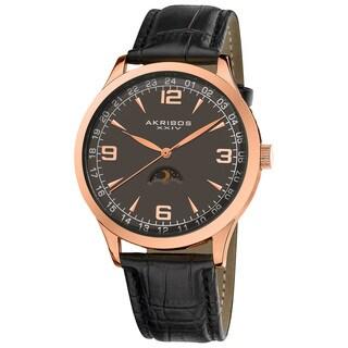 Akribos XXIV Men's Swiss Quartz Moon Phase Leather Strap Watch