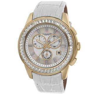 Akribos XXIV Women's Chronograph Step-Dial Genuine Leather Strap Watch