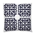 Quatrefoil Navy 18-inch Embroidered Throw Pillow