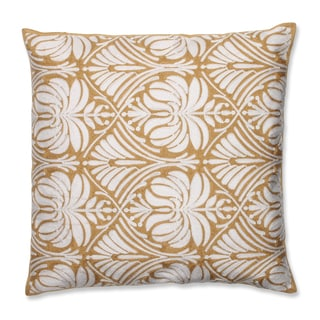 Contemporary Gold Damask 18-inch Embroidered Throw Pillow