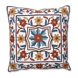 Radiating Florals 18-inch Embroidered Throw Pillow