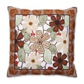 Framed Floral 18-inch Embroidered Throw Pillow