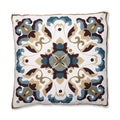 Medallion Blue Quatrefoil Embroidered Throw Pillow