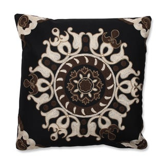 Suzani Black 18-inch Embroidered Throw Pillow