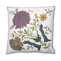 Butterfly Floral 18-inch Embroidered Throw Pillow