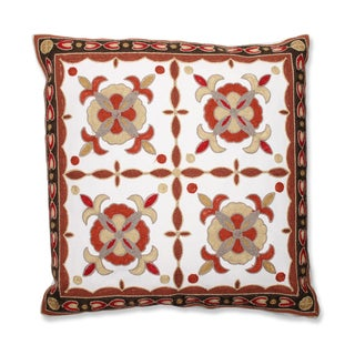 Bordered Quatrefoil 18-inch Embroidered Throw Pillow