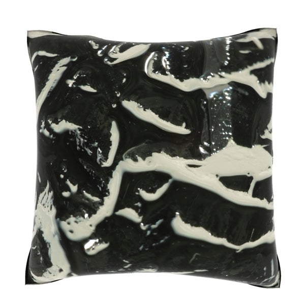 Black and White Swirls 18-inch Velour Throw Pillow