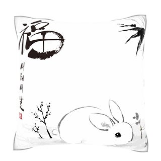 Chinese Year of the Rabbit Vector Ink 18-inch Velour Throw Pillow