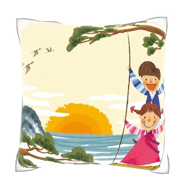 Children on Swing 18-inch Square Velour Throw Pillow