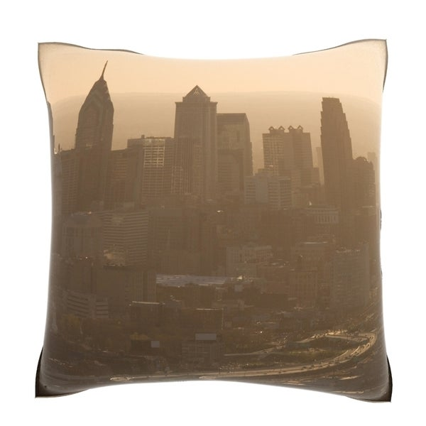 Aerial View of Philadelphia, Pennsylvania 18-inch Velour Throw Pillow