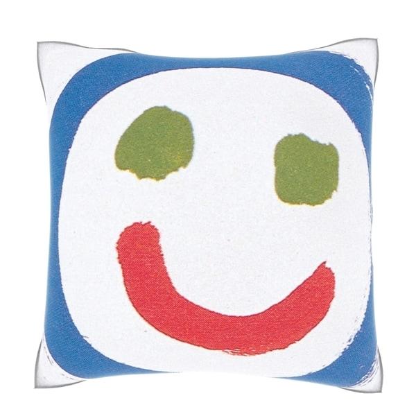 Smiley Face Illustration 18-inch Velour Throw Pillow