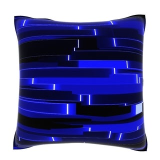 Abstract Horizontal Pattern of Segmented Bars in Blue 18-inch Velour Throw Pillow