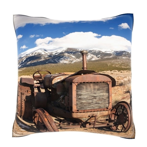 Junk Tractor in Rural Landscape 18-inch Velour Throw Pillow