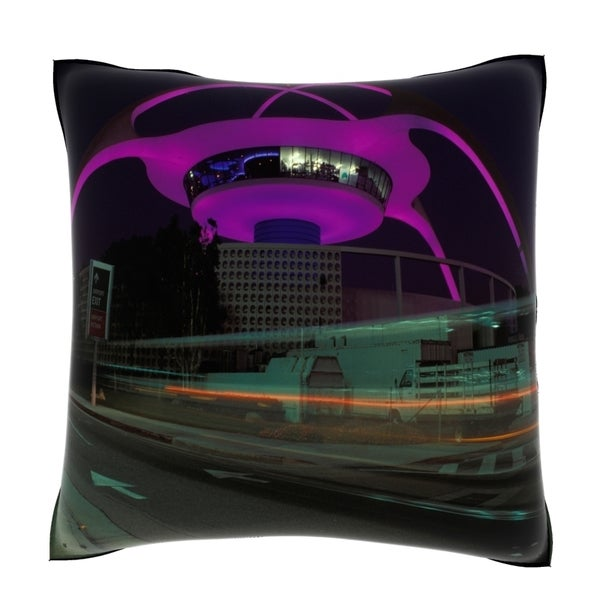 Los Angeles Airport Control Tower and Buildings 18-inch Velour Throw Pillow