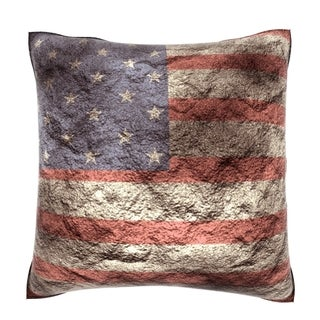 Abstract American Flag 18-inch Velour Throw Pillow
