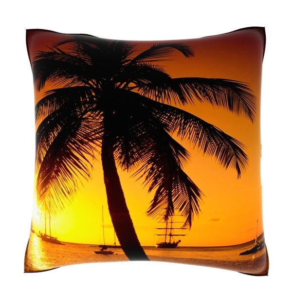 Silhouette of a Palm Tree at Sunset Marriott Bay St. Lucia 18-inch Velour Throw Pillow