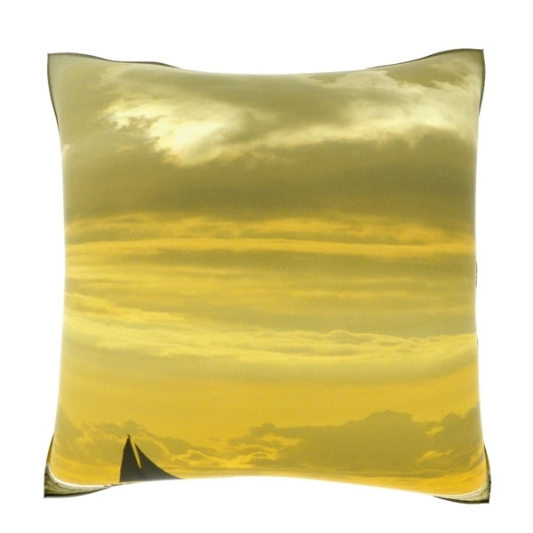 Silhouette of a Sailboat in the Sea at Dusk 18-inch Velour Throw Pillow