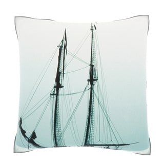 Tall Mast Sailboat in the Sea 18-inch Velour Throw Pillow