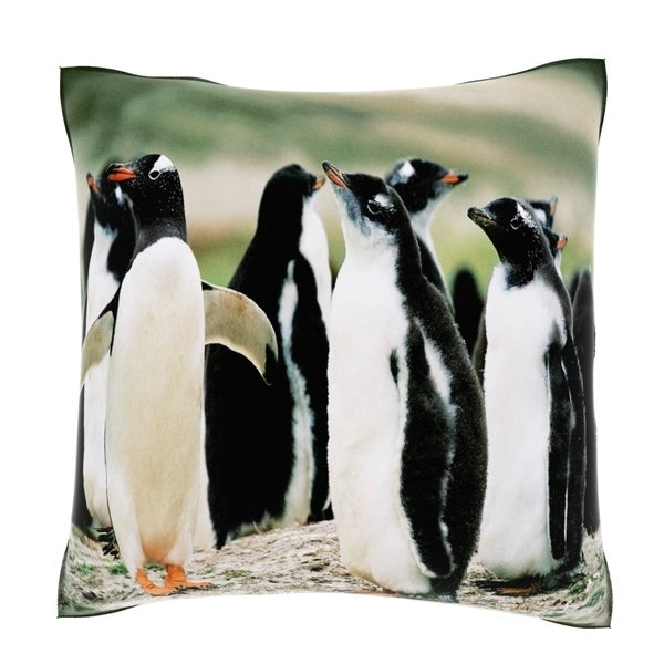 Colony of Gentoo Penguins on the Falkland Islands 118-inch Velour Throw Pillow