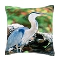 Great Blue Heron Standing on Logs 18-inch Velour Throw Pillow