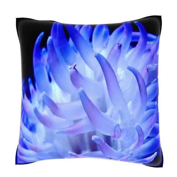 Blue Anemone18-inch Velour Throw Pillow