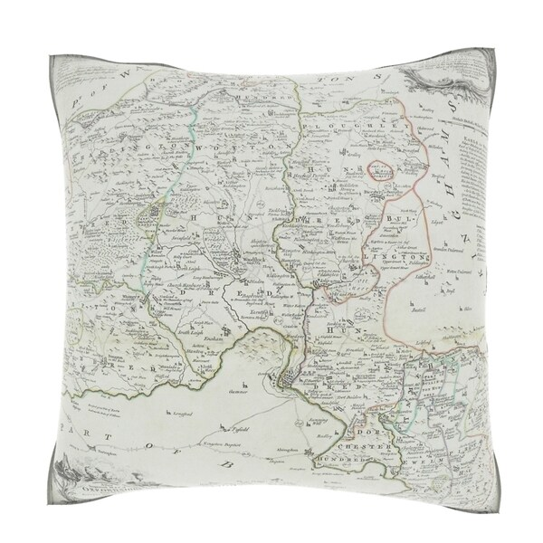 Antique Map of County of Oxfordshire in England 18-inch Decorative Pillow