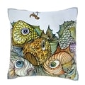 Illustration of Fish and Worm on Hook 18-inch Decorative Pillow