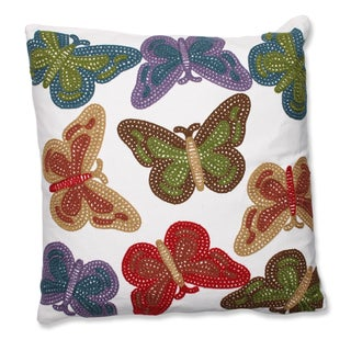 Butterflies 18-inch Embroidered Throw Pillow