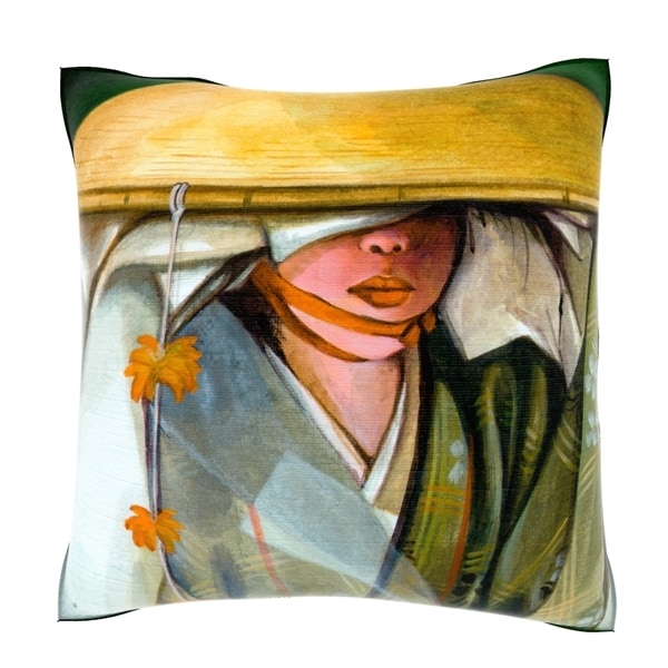 Japanese Kimono Hat 18-inch Decorative Pillow