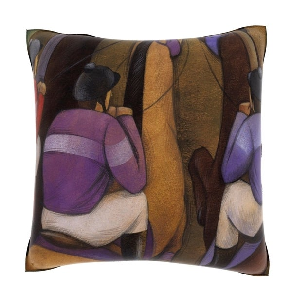 Three Horsman on a Track 18-inch Decorative Pillow
