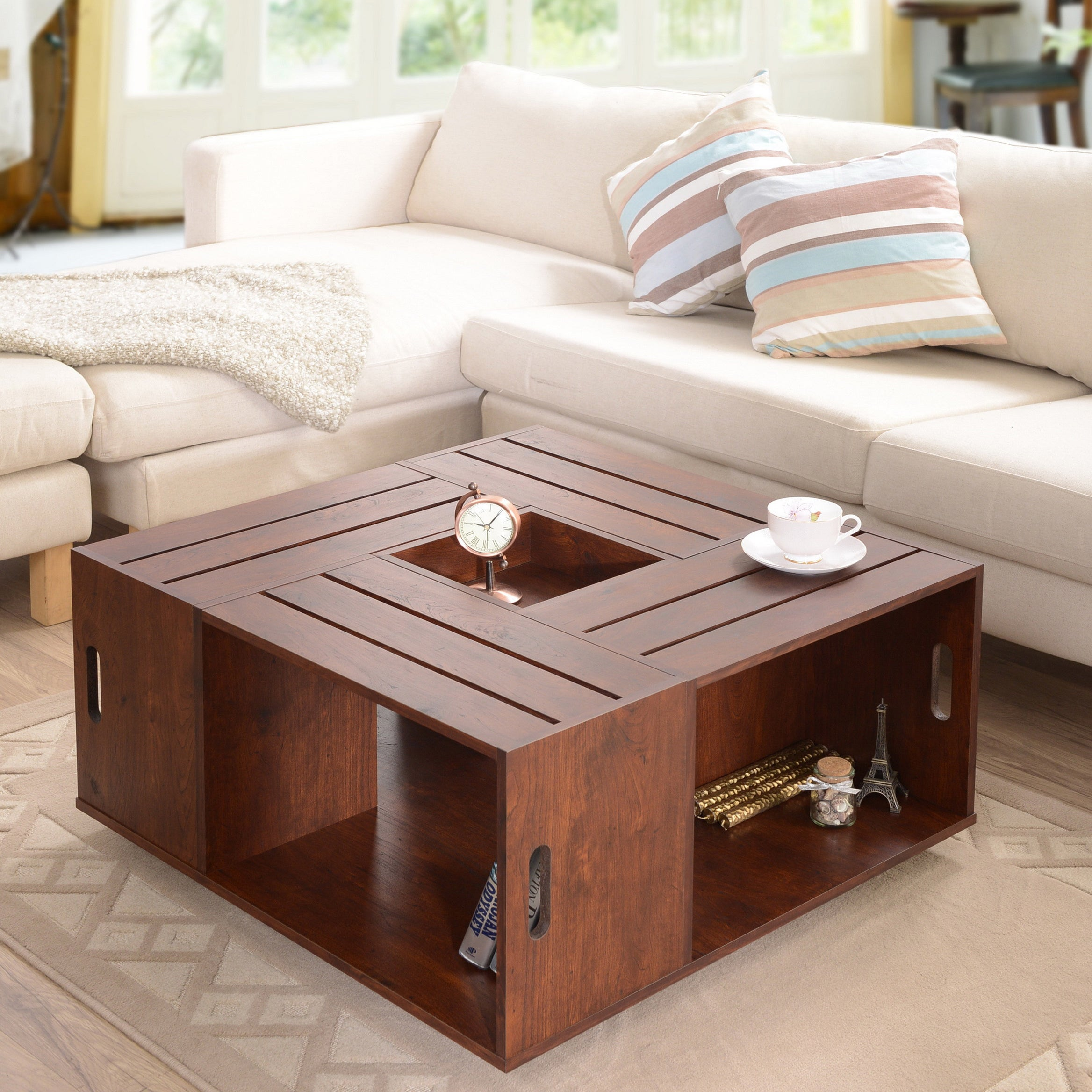 Furniture of america 39 the crate 39 square coffee table with for Coffee table made out of wooden crates