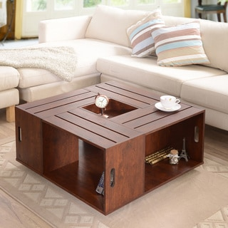 Furniture of America The Crate Square Vintage Walnut Coffee Table with Open Shelf Storage