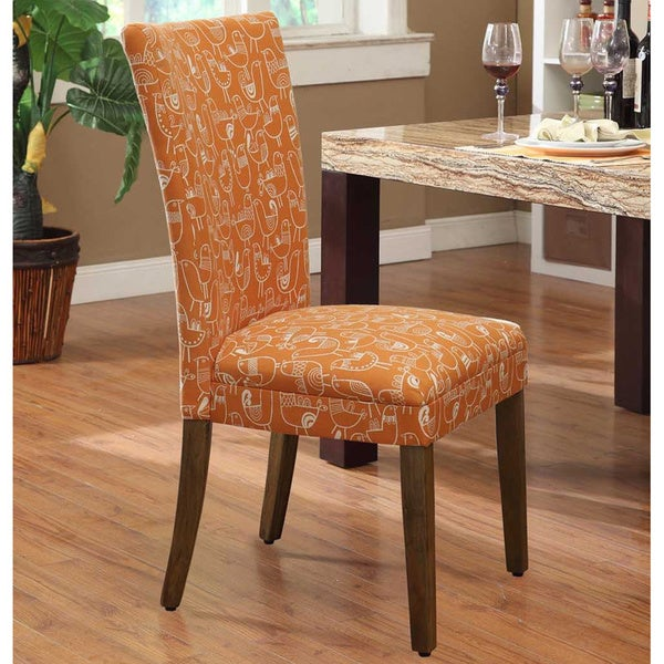 Orange roosters upholstered parson dining chairs set of 2 for Upholstered parson dining chairs