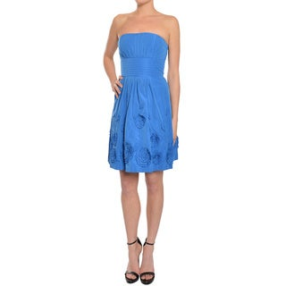 BCBG Maxazria Women's Larkspur Blue Rosette Strapless Dress