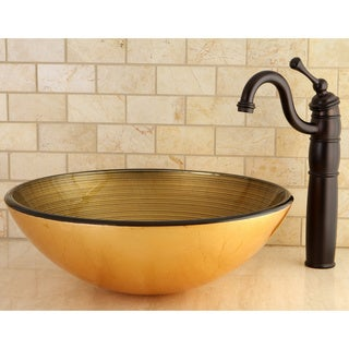Golden Yellow Glass Vessel Bathroom Sink