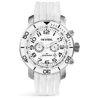 TW Steel Men's White Rubber Band Watch