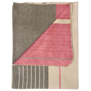 Handcrafted Raspberry Cream Multi-stripe Alpaca Throw Blanket (Ecuador)