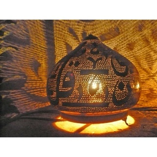 Arabesque Metal Calligraphy Table Lamp (Egypt)