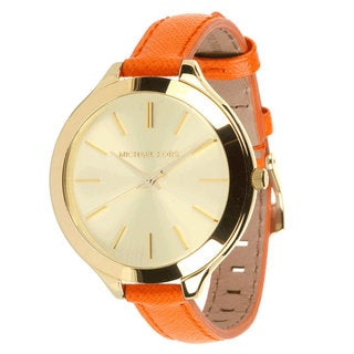 Michael Kors Women's MK2275 Orange Leather Band Watch