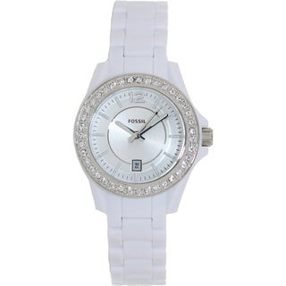 Fossil Women's Riley Three-Hand White Resin Watch