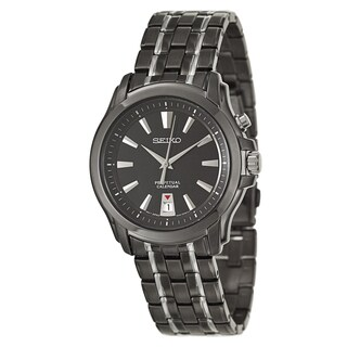 Seiko Men's SNQ121 Black Two-Tone Stainless Steel Watch