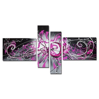 Unknown 'Abstract Graffiti' Hand-painted 4-piece Canvas Art