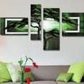 Unknown 'Green African Landscape' Hand-painted 4-piece Canvas Art