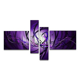 Unknown 'Purple Abstract' Hand-painted 4-piece Canvas Art