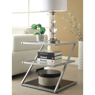 Silver-finished Glass 3-tier End Table