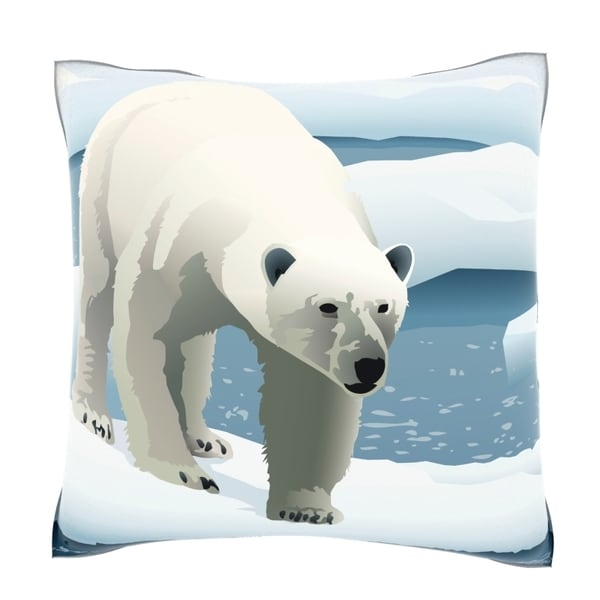 Polar Bear Prowling Ice Floe 18-inch Velour Throw Pillow