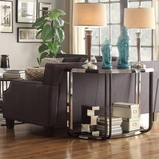 Edison Black Nickel-plated Castered Modern Sofa Table