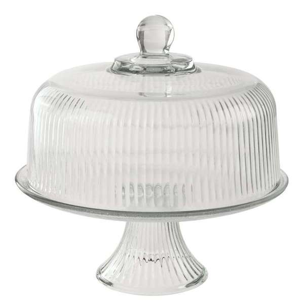 Anchor Hocking Monaco Clear Ribbed Dome Cake Set
