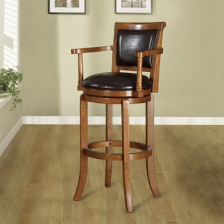 Manchester 30-inch Oak Finish Swivel Bar Stool