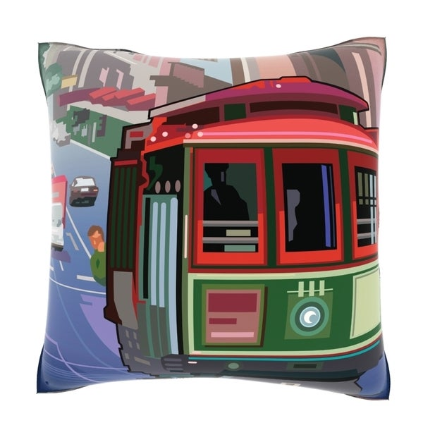 San Francisco Trolley Car 18-inch Velour Throw Pillow